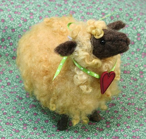 *NEEDLE FELTED ART ~ Twig Sheep with Heart