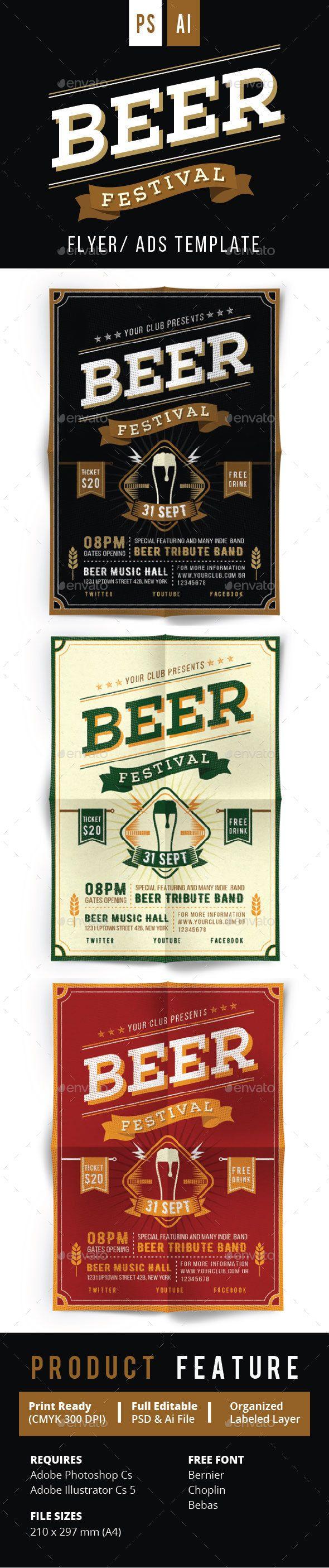 Beer Festival Flyer Vol.2  — PSD Template #drink #typography • Download ➝ https://graphicriver.net/item/beer-festival-flyer-vol2/17893724?ref=pxcr