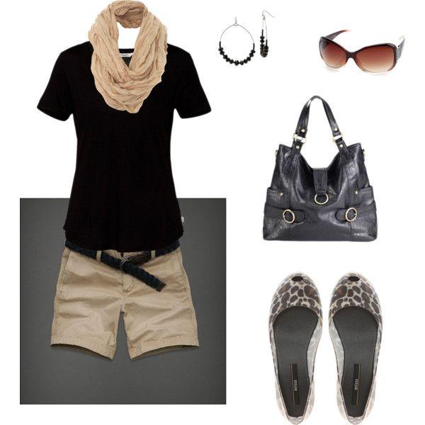 Black tshirt and khaki shorts, created by rndougherty on Polyvore