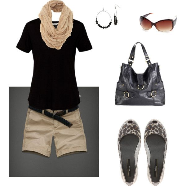 Black tshirt and khaki shorts, created by rndougherty on Polyvore