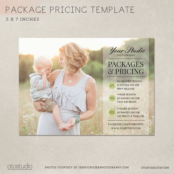 Photography Pricing Packages - Marketing Board MP003 - Photoshop template INSTANT DOWNLOAD