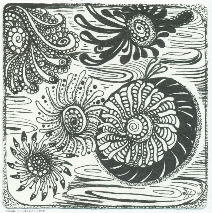 Zentangle® Tile Copyright 2011 by Sharla Hicks CZT, teaching Zentangle at SoftExpressions.com