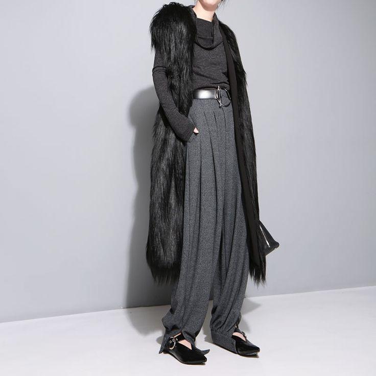 [Soonyour] chaude 2016new automne hiver V col de fourrure sans manches gilet noir lâche manteau femme mode marée chaud all matchHA06781 dans de sur AliExpress.com | Alibaba Group
