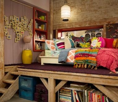 Teddy Duncan's room from Good Luck Charlie, and it's super cool, how the bed is on a sort of raised platform thingy it's amawesome! (amazing and awesome)