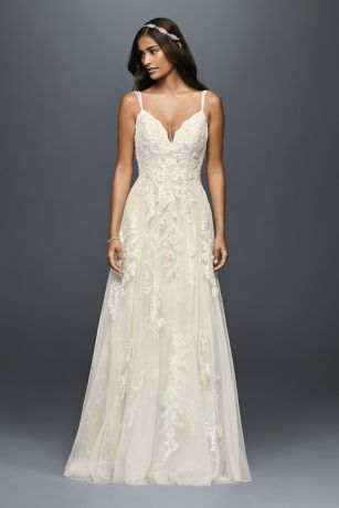Appliqued with pearl-centered blush flowers, this scalloped-bodice gown has an irresistibly ethereal feel. The tulle skirt is softly voluminous, and the double-strapped, low back lends a delicate feel.   Melissa Sweet, exclusively at David's Bridal  Polyester  Chapel train  Back zipper; fully lined  Dry clean  Imported  Also available in petite, extra length, and