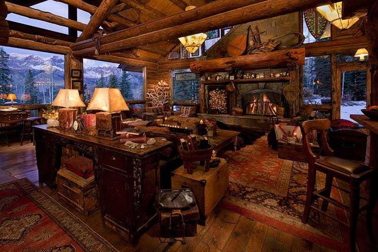 Log home decor love log house pinterest rustic for Decorate log cabin interior