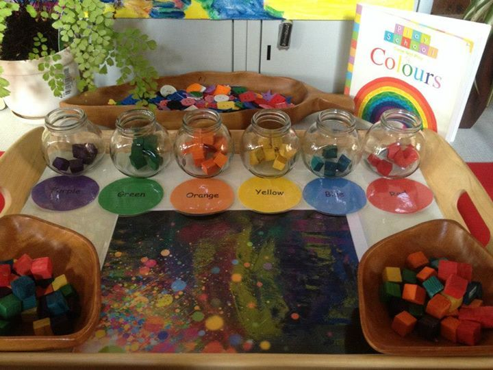 """Gorgeous colour exploration at Puzzles Family Day Care ("""",) When I read this, I think it is sorting of the colors, but what really excites me is the picture on the table. It looks like a child explored with paint on black paper. This is what I would like to set up."""