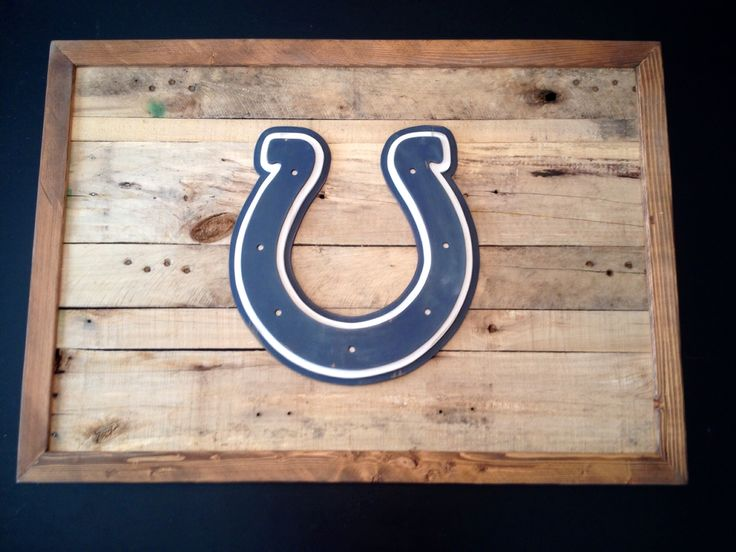 Indianapolis Colts 3-D logo on reclaimed wood. Sports sign. 3-d logo sign. Hand made wood sign. Made by Kate Hall
