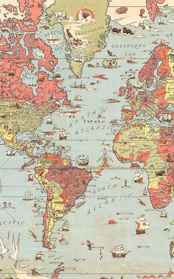 Kids old fashioned world map painted wallpaper