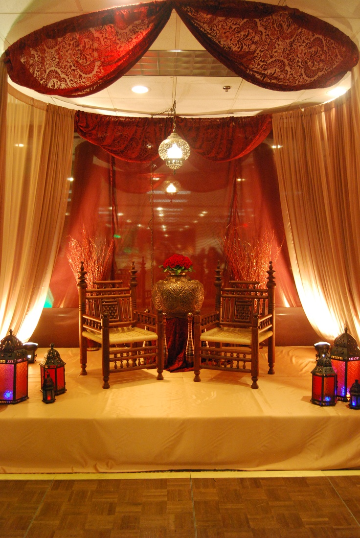 WeDoDesigns, Moroccan theme, henna party, jewel tones, burgundy, gold, emerald, canopy, velvet, antique chairs, lanterns, drape, custom stage, pakistani, indian,
