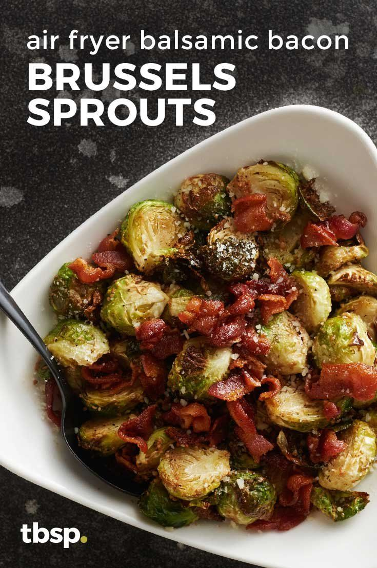 Bacon and Brussels sprouts are already a match made in heaven but when you add balsamic and crisp them up in the air fryer you ve got a dish that is seriously addicting Balsamic Brussel Sprouts, Fried Brussel Sprouts, Sprouts With Bacon, Brussels Sprouts, Air Fryer Recipes Brussel Sprouts, Air Fryer Oven Recipes, Air Frier Recipes, Air Fryer Dinner Recipes, Comida Keto