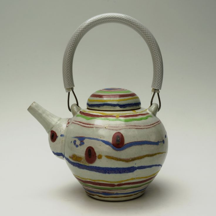 Teapot. Reduction fired. Banded decoration - handle: stainless steel cable with reinforced polypropylene tube.