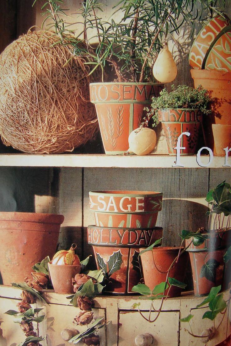 Gift idea - Love the decorated flower pots ~ Seven Gates Farm
