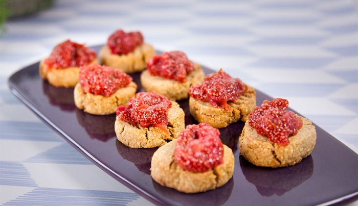 Coconut and Oat Biscuits with Strawberry Jam