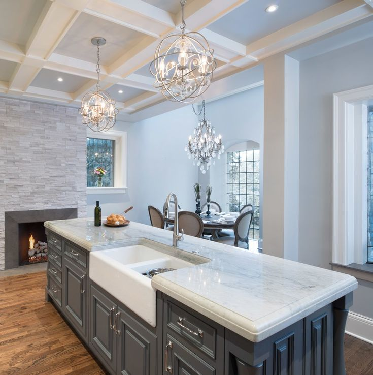 Gray-Kitchen-Island-with-Coffered-Ceiling