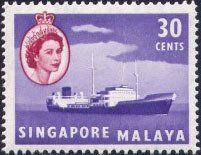 1955 - Stamp: Oil tanker (Singapore) (Queen Elizabeth II and Views)