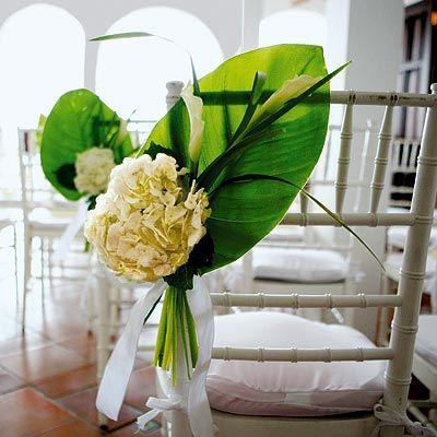Pretty! (center piece idea): Decor Ideas, Wedding Aisle, Calla Lilies, Wedding Decor, Chairs Decor, Wedding Chairs, Bananas Leaves, Chairs Covers, Aisle Decor