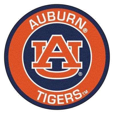 NCAA Auburn University Orange 2 ft. 3 in. x 2 ft. 3 in. Round Accent Rug