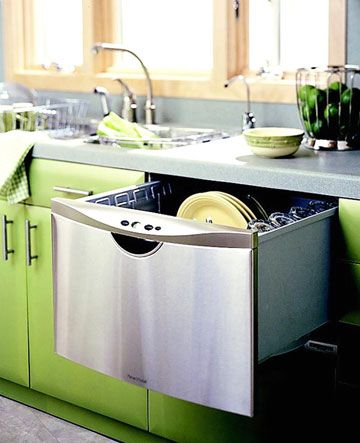 Small but mighty best describes a new wave of drawer-style kitchen appliances. Dishwasher drawers, usually installed in pairs, offer flexibility to run small loads. When the drawers flank the sink, as in this kitchen, the higher placement makes for easy loading and unloading. Also on the pullout appliance front, warming drawers are making cold meals a thing of the past, and refrigerator drawers with kid-friendly accessibility are freeing up beverage and snack space in the main fridge. For…