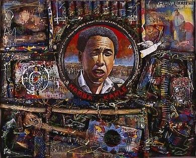 Willie Bester  Hamba Kahle (1993)  Oil, wood, metal, plastic and lether on board  49 3/8 X 61 X 4 3/8 inches  125.4 X 155 X 11 cm