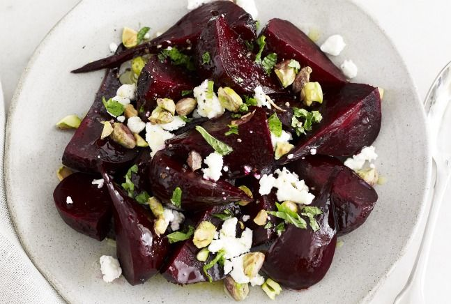 Roasted Beets Greek Style with Honeyed PistachiosFood Recipes, Greek Styl Roasted, Beets Greek, Greek Goats, Eating, Honey Pistachios, Roasted Beets Salad, Greek Style, Goats Cheese
