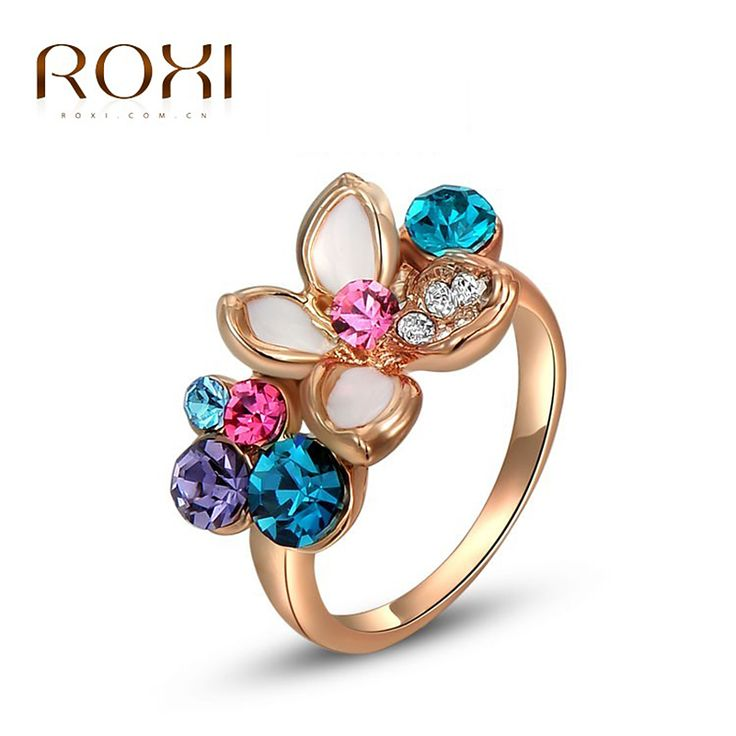 ROXI Rings For Women Rose Gold Four Floral Ring With Colorful Crystal Inlaid Zircon Fashion Jewelry For Party Weeding Gift