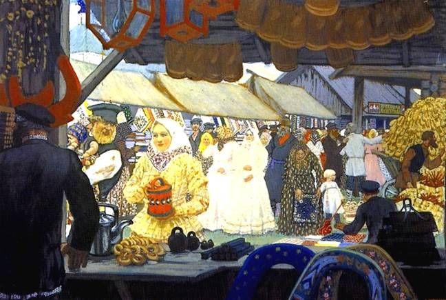 moonage daydream ::  보리스 쿠스토디예프의 '시장'. 이런 시장은 '야르마르까'라고 한단다.