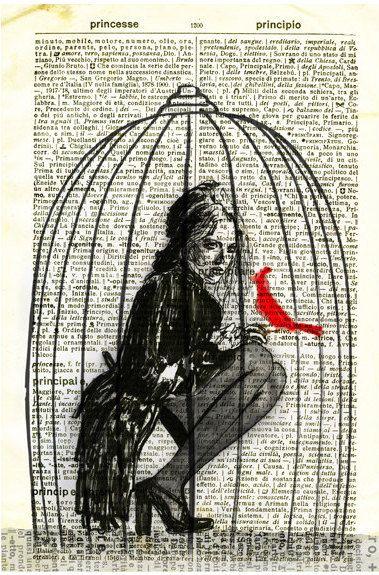 Bird Cage Drawing Illustration Digtal Art.
