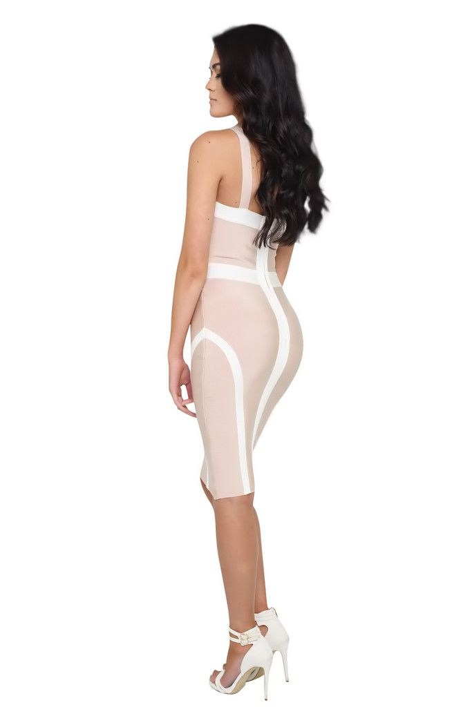 Giselle Nude and White Bustier Bandage Dress – Pink Mauve Boutique