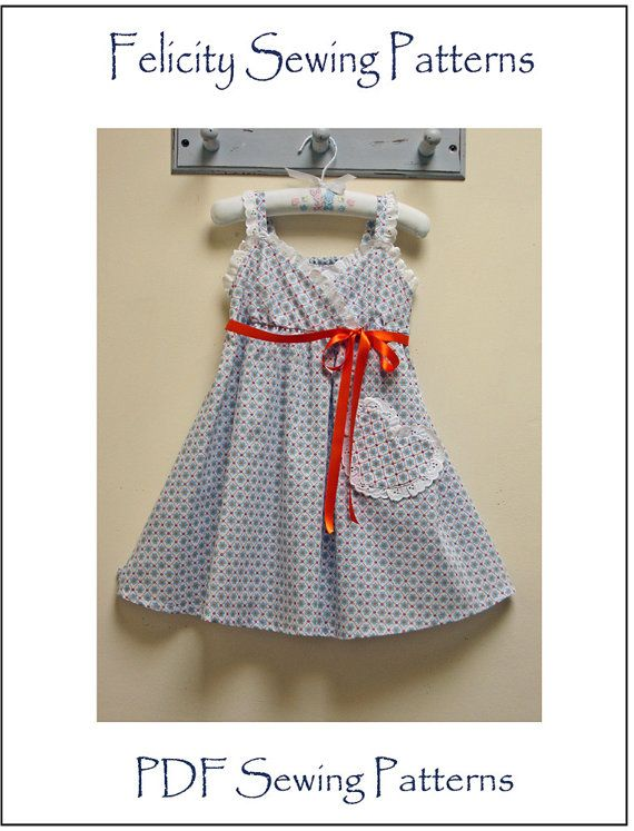 Little Cup Cake dress pattern by Felicity Sewing Patterns, girl's pdf sundress pattern sizes 1 - 10 years, children's sewing patterns