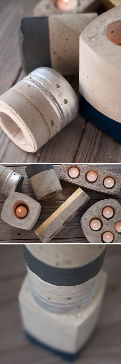 DIY Cement Candleholders | Design Mom This could be a fun little Christmas gift