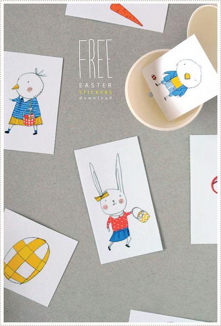 Easter stickers download via MerMag