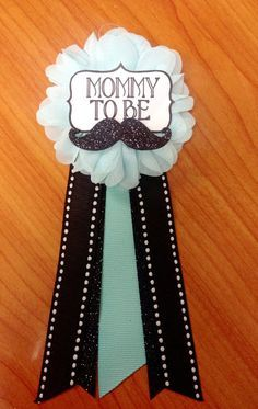 Little man teal aqua Mustache Baby Shower Mommy-to-be