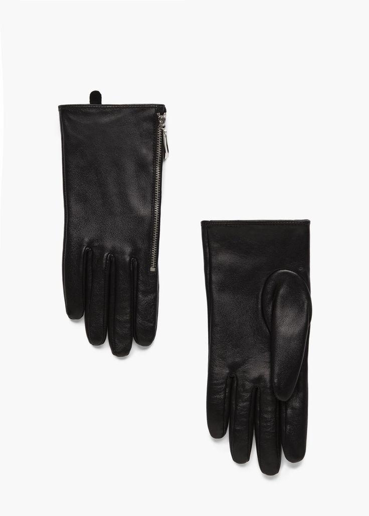 Lederhandschuhe mit zipper -  Damen | MANGO