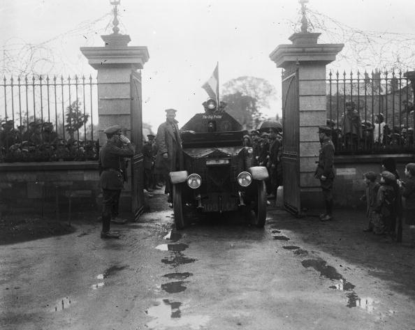 May 1922: Michael Collins, known as the 'Big Fella', entering Portobella Barracks on an armoured vehicle during the Irish Civil war.