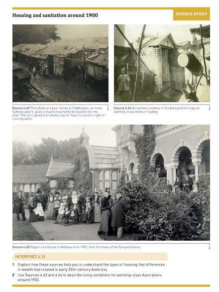 Extension: Living and Working Conditions in Australia 1900 [pg. 195 of the textbook]