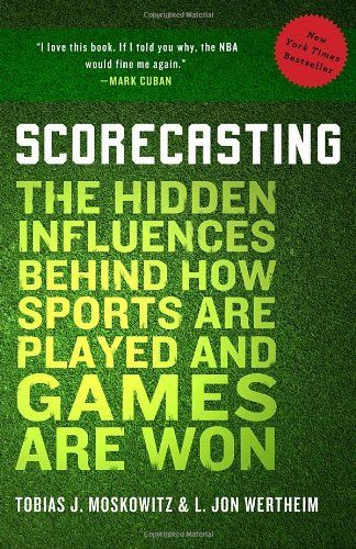 Scorecasting: The Hidden Influences Behind How Sports Are Played and Games Are Won by Tobias Moskowitz http://www.amazon.com/dp/0307591808/ref=cm_sw_r_pi_dp_b9iZub1ZY487K