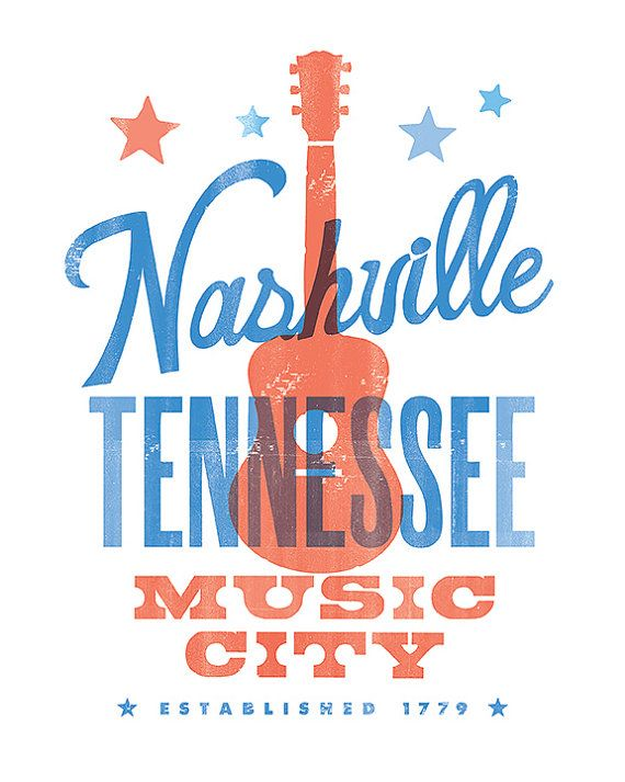 Estampe de NASHVILLE MUSIC CITY - 8 x 10