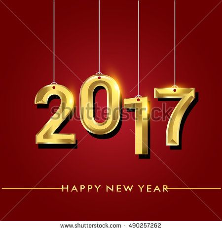 Happy New Year 2017 isolated on red background, text design hanging gold colored, vector elements for calendar and greeting card