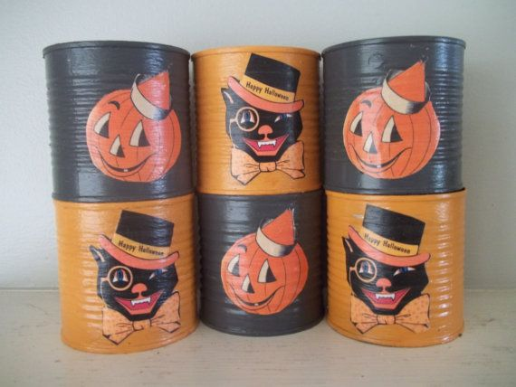 Halloween Decor Painted Tin Cans Set of 6 Retro by vintagearmoire