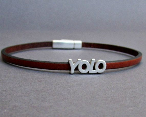 Quote Bracelet Mens Tiny Leather Bracelet YOLO Dainty by GUSFREE
