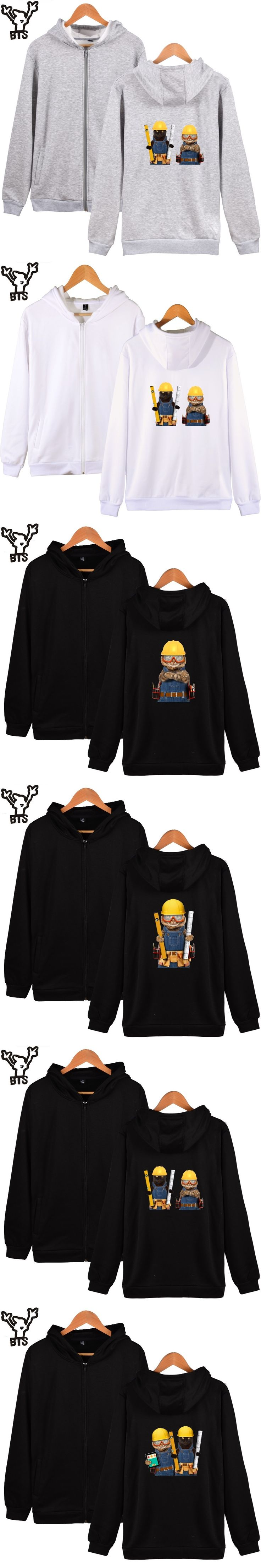 BTS Builder Cat Hoodies Men Zipper Fashion Capless Coat Winter Casual Sweatshirt Men Zipper Engineer Cat Cartoon XXS-4XL Clothes