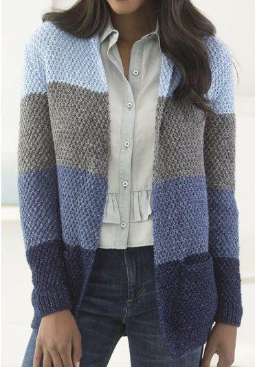 Free Knitting Pattern For Easy High Plains Cardigan K1 P1