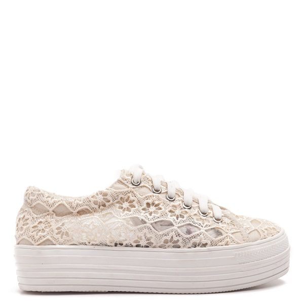 Flatform trainers in cream-coloured lace.