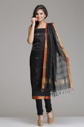 Black Mangalagiri Silk Cotton Unstitched Suit With Gold Zari Bootis And Border