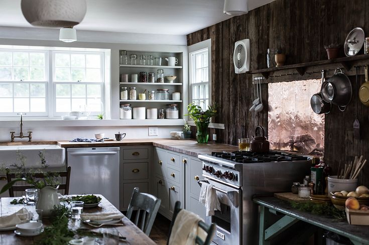 Wood wall and copper splashback