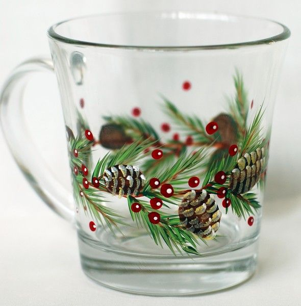 Our CBP0016 Pinecones and Boughs Pattern Packet provides beautifully decorated glass mugs, snifters and wine glasses. Perfect for the Christmas season.