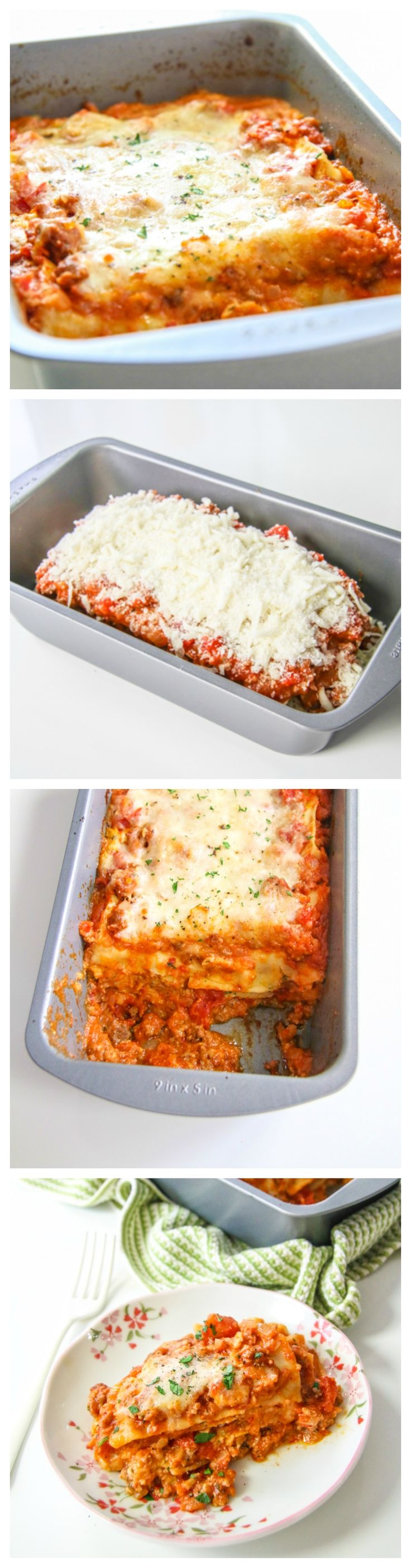 This easy #lasagna is made in a #loaf pan and is the #perfect amount for two!