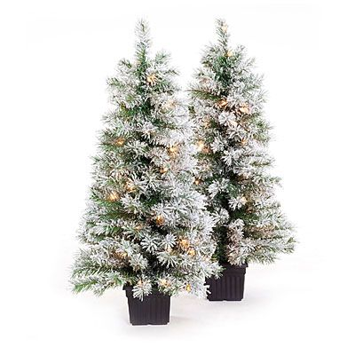 3 5 Pre Lit Artificial Urn Christmas Trees White