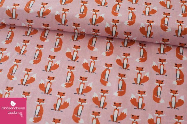 Designerstoffe USA - Fabulous Foxes mini rosa by R.Kaufman - ein Designerstück von birdsandbees-design bei DaWanda